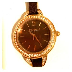 Caravelle women's leather wrap watch